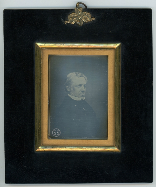 Large Richard Beard Patentee Japanned Frame Dignified Man Daguerreotype for sale