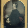 Tinted British Daguerreotype Lady Sitting In Front of a Painted Column Backdrop